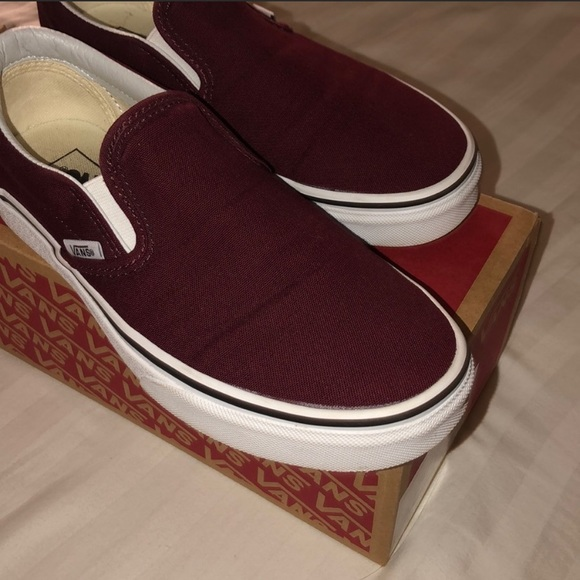 Vans Shoes | Burgundy Slip On Vans